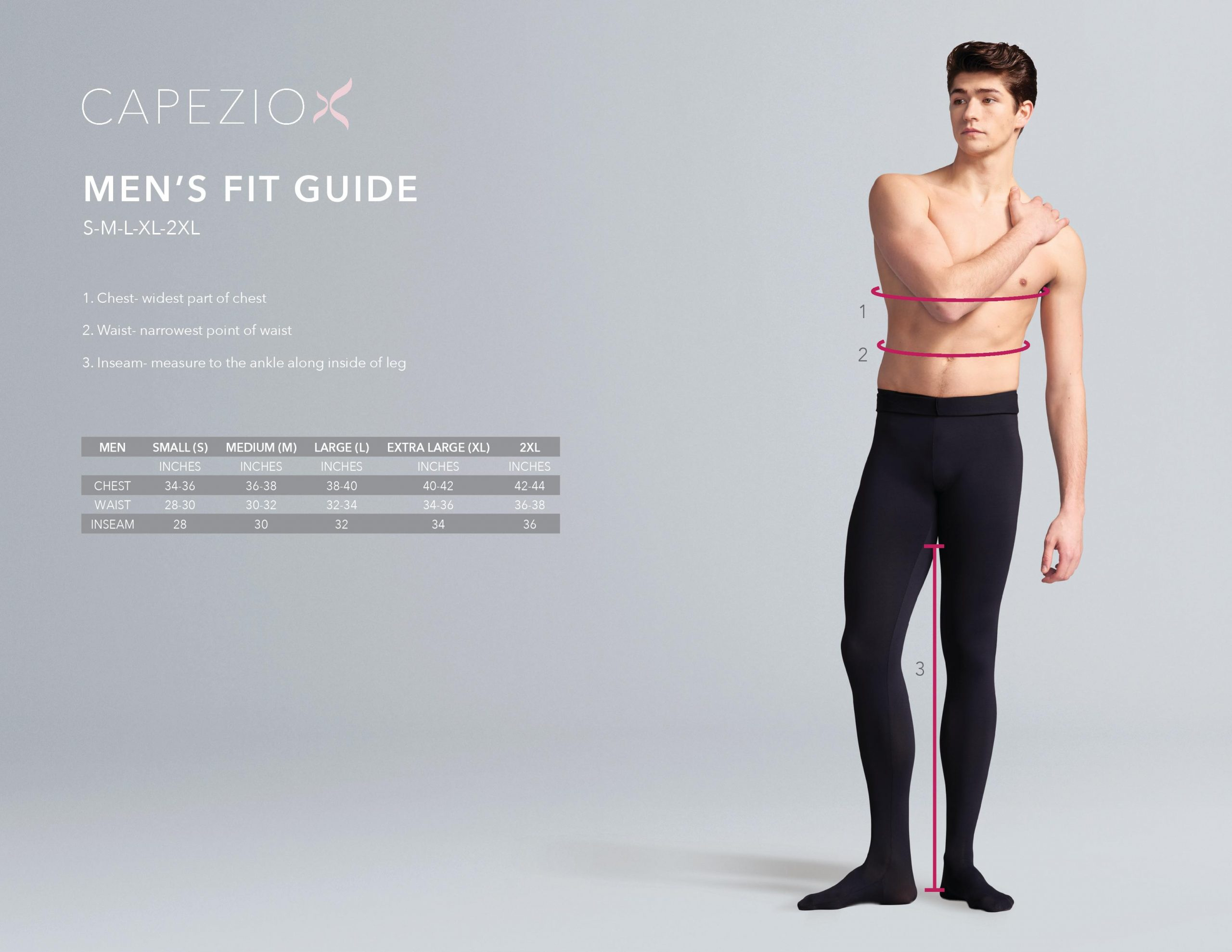 mens dance wear sizing