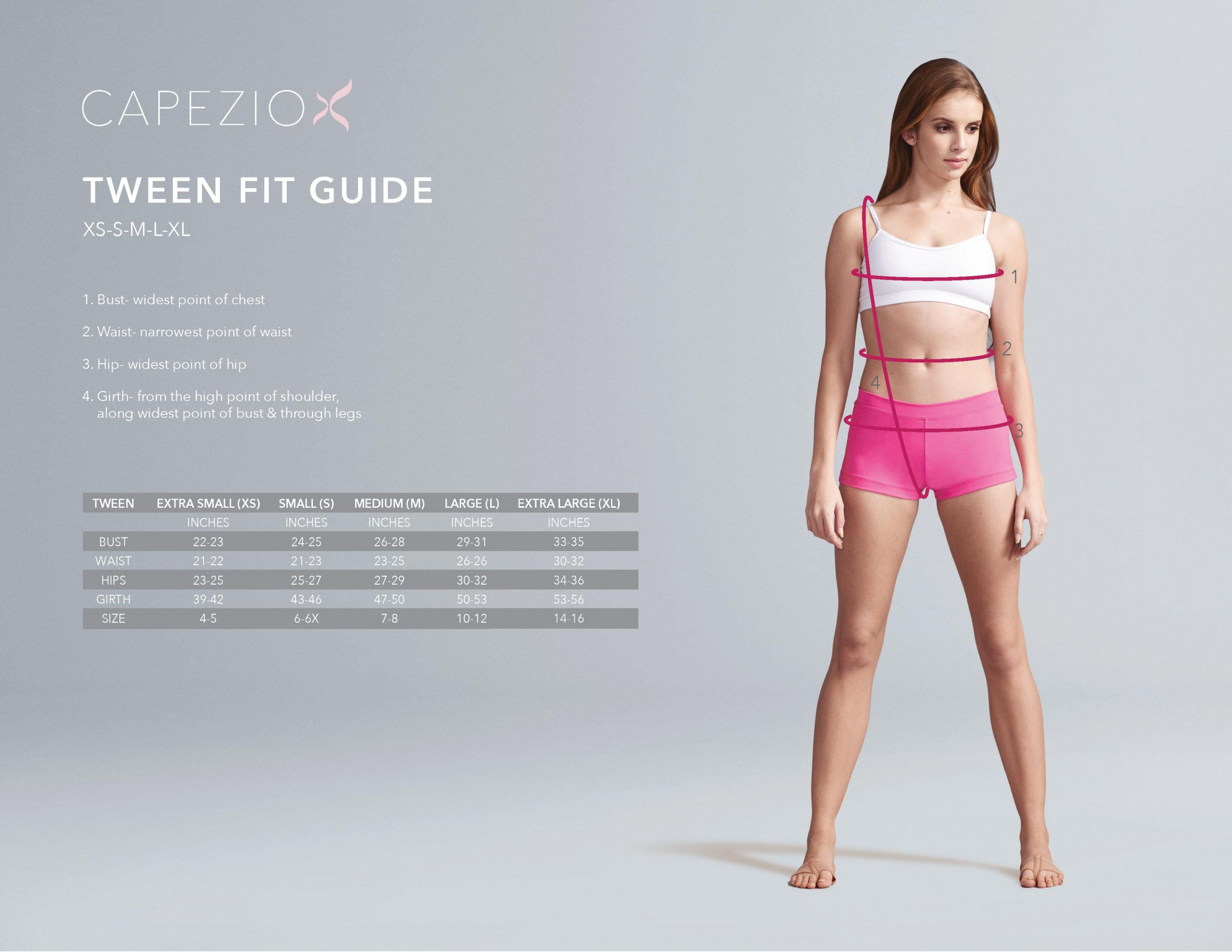girls dance wear size chart