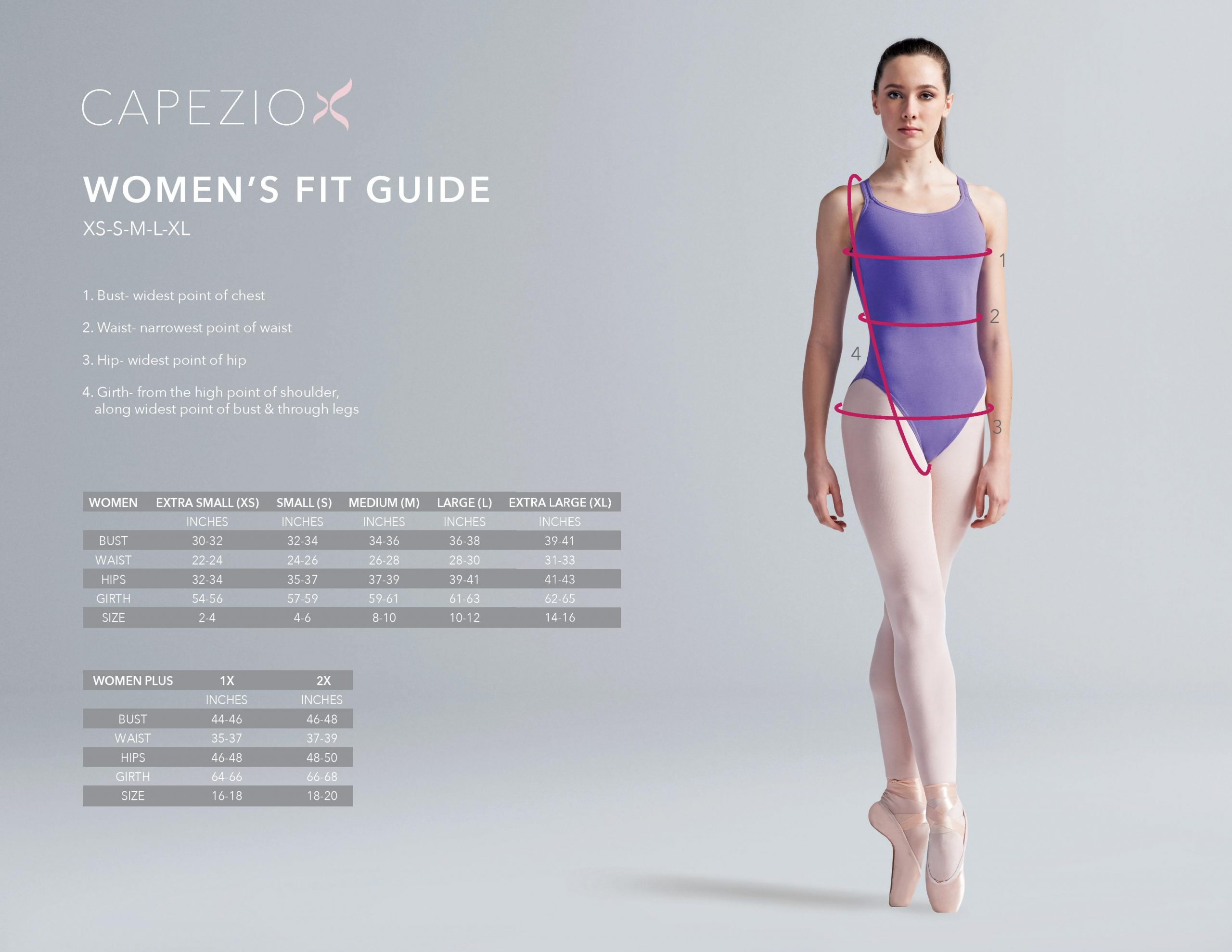 woman dance clothing fit guide